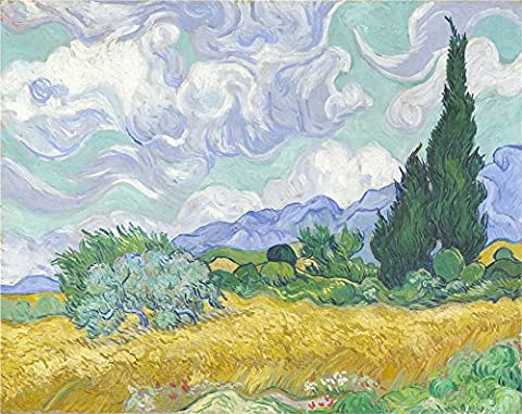 'Vincent Van Gogh A Wheatfield With Cypresses ' Oil Painting, 10 X 13 Inch / 25 X 32 Cm ,printed On Perfect Effect Canvas ,this Replica Art DecorativePrints On Canvas Is Perfectly Suitalbe For Hallway Decoration And Home Decor And - Aqua Stripe Wall Sconce
