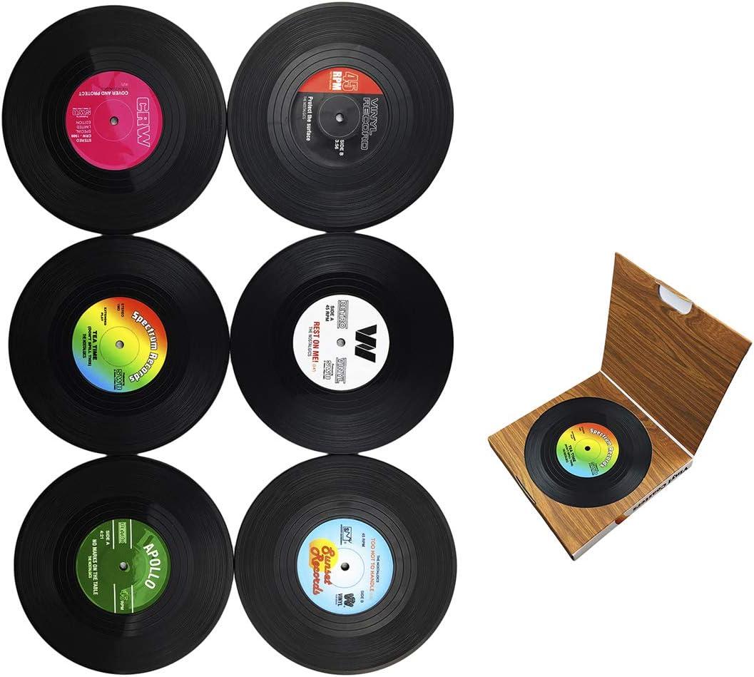 Dooppa 6 posavasos retro de disco de vinilo con estilo de m/úsica cl/ásica