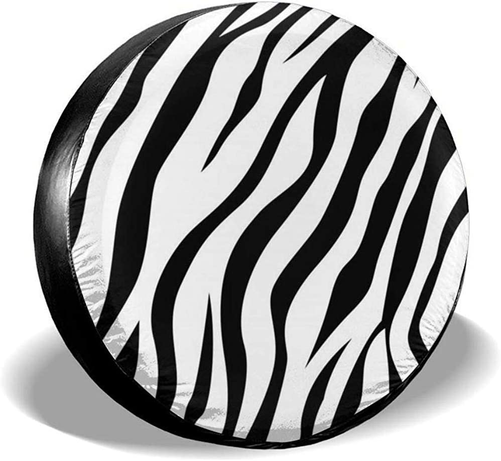 Dem Boswell Spare Tire Covers Zebra Pattern Print Waterproof Dust-Proof Sun Protectors Universal Wheel Cover Universal Fit 14 Inch