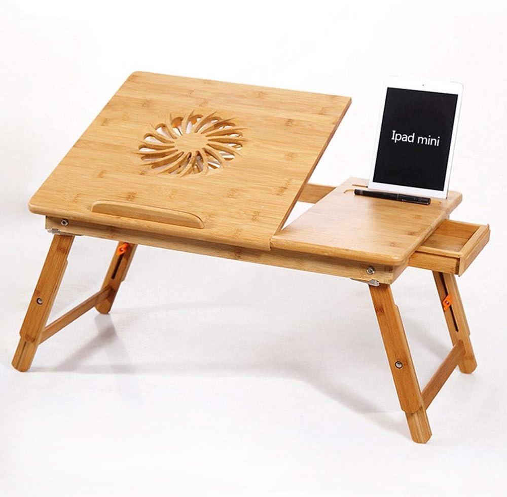 MQQ 昇降折りたたみテーブルノートパソコンデスクノートパソコンの調節可能なデスクテーブル引き出し「Wベッド・トレイをサービングUSB扇風機折り畳み式の朝食付きの100%の竹