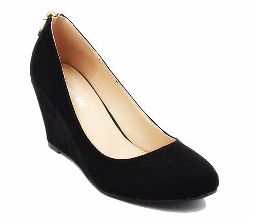 on sale af1a3 d1751 King Of Shoes Damen Pumps Keilabsatz Wedges Schuhe mit Plateau