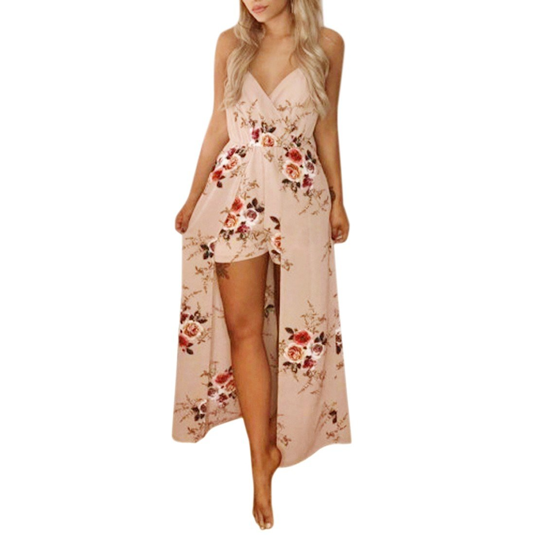 Paixpays Women Summer Short Sleeve Transparent Printed Short Dress White 3012S5617