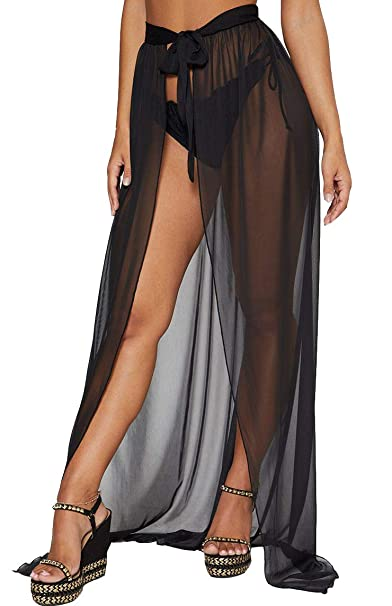 dff788429 Beach Cover Ups for Swimwear Women Sheer Chiffon Split Boho Maxi Skirt  (XS-3XL