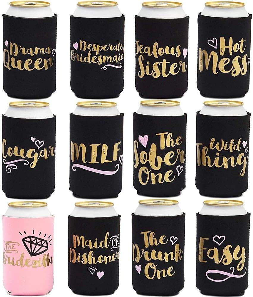 Fundas para latas de despedida de soltera para bebidas frías, recuerdos de fiesta (12 diseños, 12 unidades)