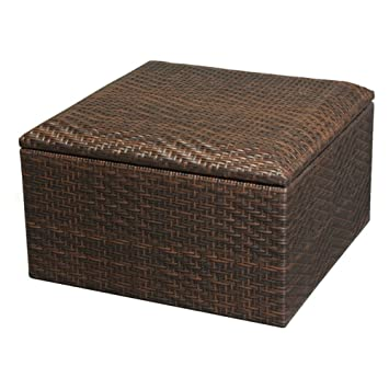 Best Selling Wicker Brown Indoor/Outdoor Storage Ottoman, Small