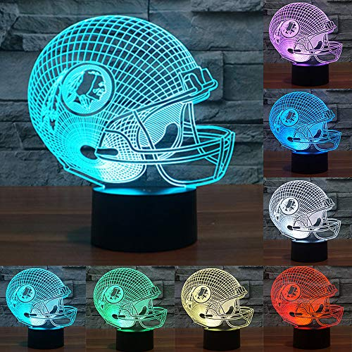 Football Cap Team Logo 3D Lamp Table NightLight 7 Color Change Football LED Desk Light Touch Multicolored USB Power As Home Decoration Lights Tractor for Boys Kids (Touch) (Washington Redskins)