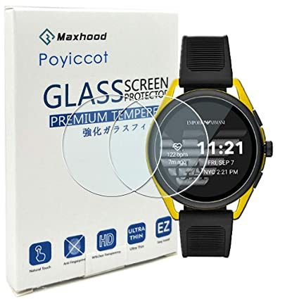 for Emporio Armani Smartwatch 3 Screen Protector, Poyiccot 2Pack Tempered Glass 9H HD Scratch Resistant Screen Protector for Emporio Armani Smartwatch ...