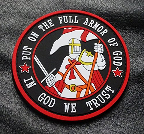 Put On The Full Armor In God We Trust PVC Rubber 3D Morale Hook PVC Patch