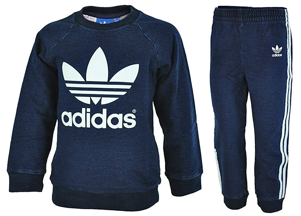 Adidas I Crewset Denim Kids Infants Originals Firebird Tracksuit Baby Jogging Suit Navy