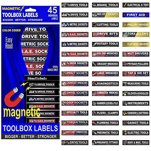 Ultimate Magnetic Toolbox Label organizer set for tool chest, boxes, drawers & cabinetsQuick & Easy & adjustable, fits all quality brands of Steel tool chest including Craftsman, Mac & Snap-on