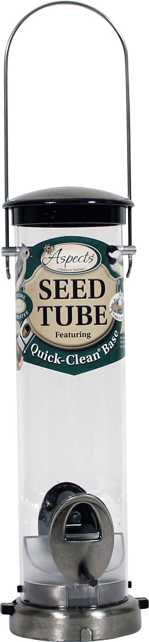 Small Seed Tube Feeder in Brushed Nickel by Aspects