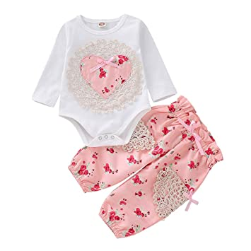1deb93cde1c15 Covermason Baby Clothes Sets Girls,Infant Baby Girl Long Sleeve Floral  Heart Print Lace Tops