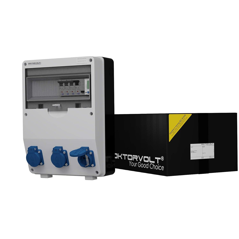 Stromverteiler TD-S/FI 3x230V Fi-Schalter Stromzä hler MID geeicht Baustromverteiler 2862 Doktorvolt