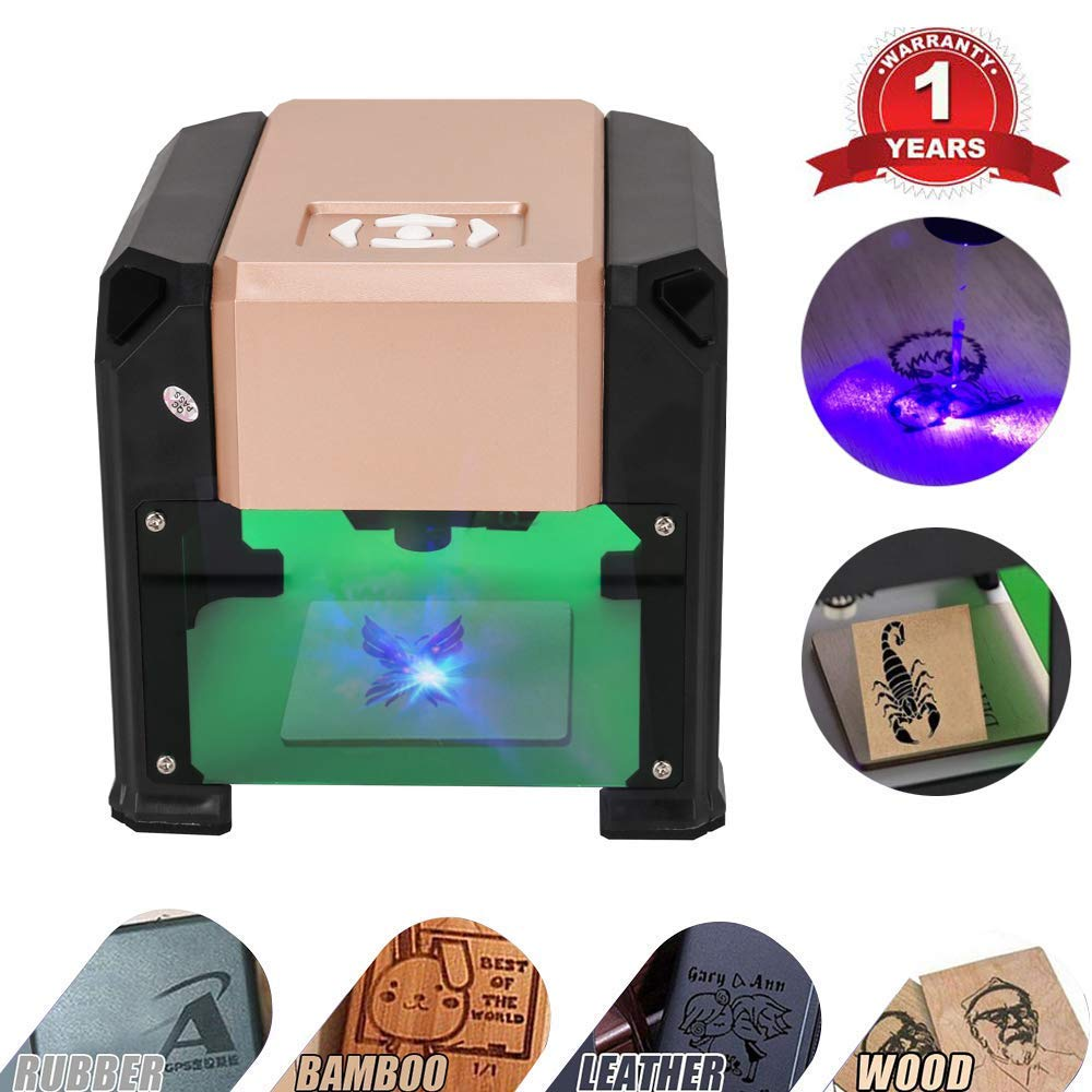 Laser Engraver, MYSWEETY 3000MW Mini DIY Laser Engraving Machine, Desktop Laser Engraver Printer, CNC Laser Carving Machine for Wood, Plastic, Bamboo, Rubber, Leather(Working Area: 8x8cm)