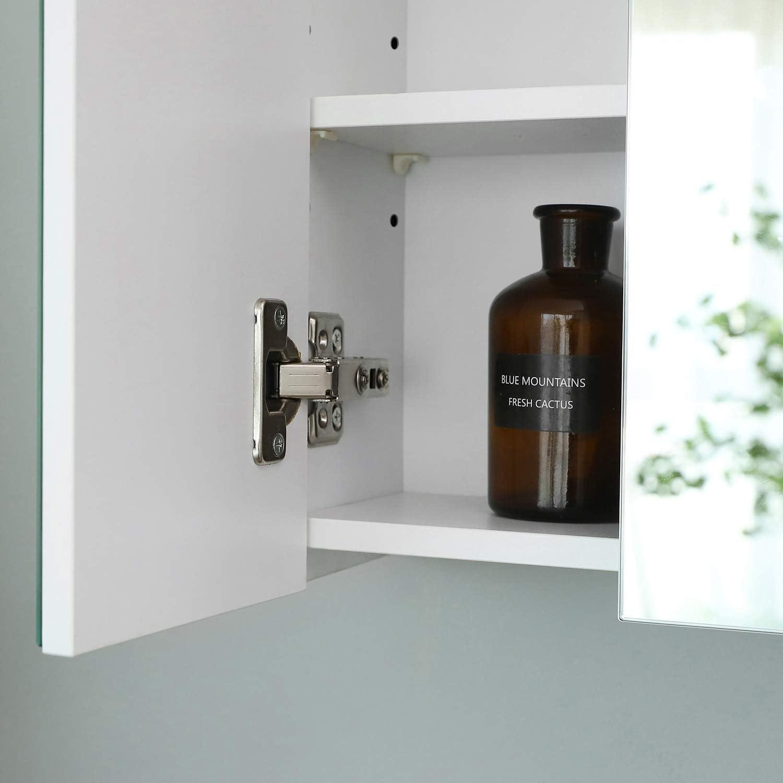 Vasagle Bathroom Wall Cabinet Cupboard With Mirror 3 Door Storage Cabinet 60 X 15 X 55 Cm With Adjustable Shelf Modern White Bbk22wt Amazon Co Uk Kitchen Home
