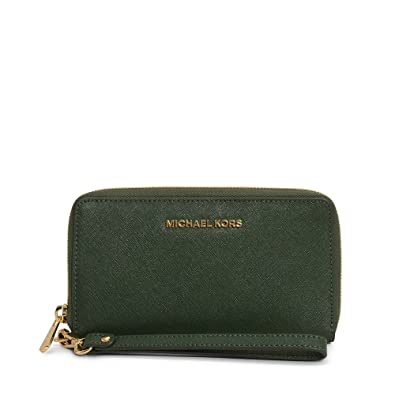 6da7e72a7839 MICHAEL Michael Kors Jet Set Travel Large Smartphone Wristlet Wallet in  Moss: Amazon.co.uk: Shoes & Bags