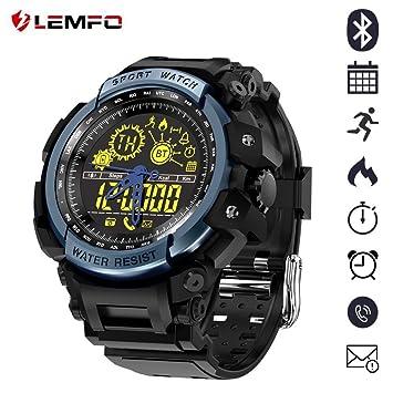 LEMFO LF21 NO1 - Reloj de Pulsera Deportivo Militar para Hombre, diseño Resistente, cronómetro, retroiluminación EL 5 ATM Resistente al Agua + energía