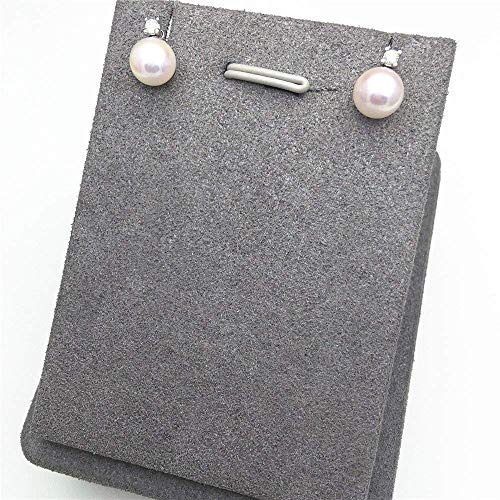 18K White Gold Freshwater Pearl Diamonds Earrings Studs Round Pearl Stud Earrings Freshwater Pearls 8-9mm ()