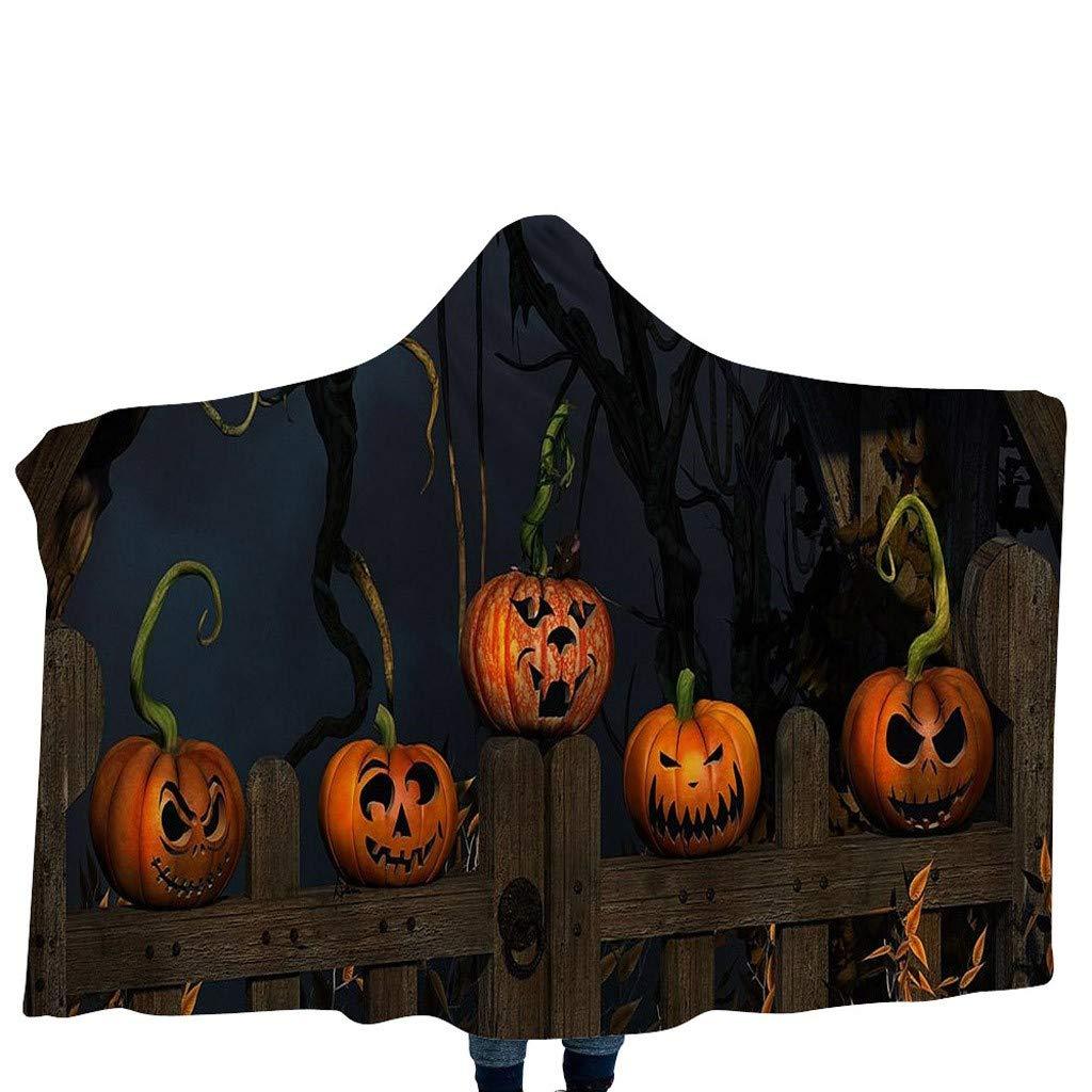 FIN86 Halloween Pumpkin Pattern Wear Cap Home Blanket Children's Blanket Hooded Shawl by FIN86
