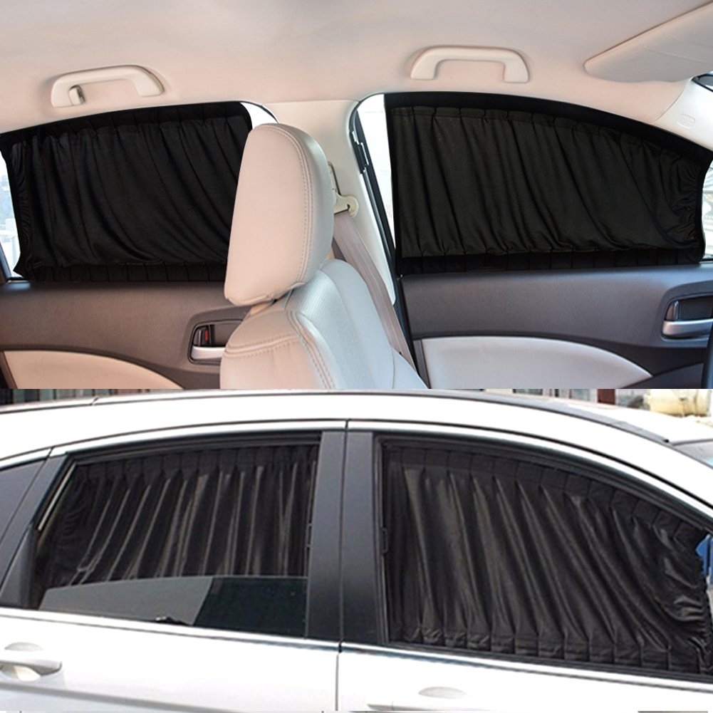 Sunshades Sun Protection Car Window Sunshade Retractable Foldable Windshield Sunshade Cover Curtain Black