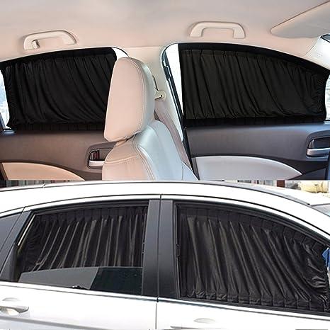 Yosoo Car Window Curtain 2 X 50s Car Interior Sun Shade Window Curtain Adjustable Windshield Sunshade Drape Visor Valance Curtain Universal Car