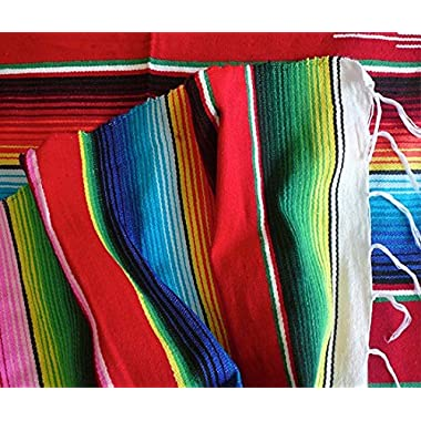 Sarape Style Falsa Blanket Classic Mexican Serape Pattern Hand Woven Acrylic 57  X 74  *000203*