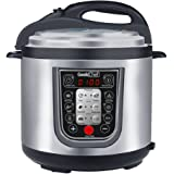 GeekChef New generation 11-in-1 Multi-Functional Electric Pressure Cooker,Stainless Steel Cooking Pot with Sous Vide Function, 6Qt/1000W