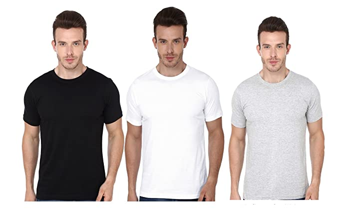 c7559fdcec9 ADYK Men s Basic Cotton Round Neck Half Sleeve Solid T-Shirts - Pack of 3