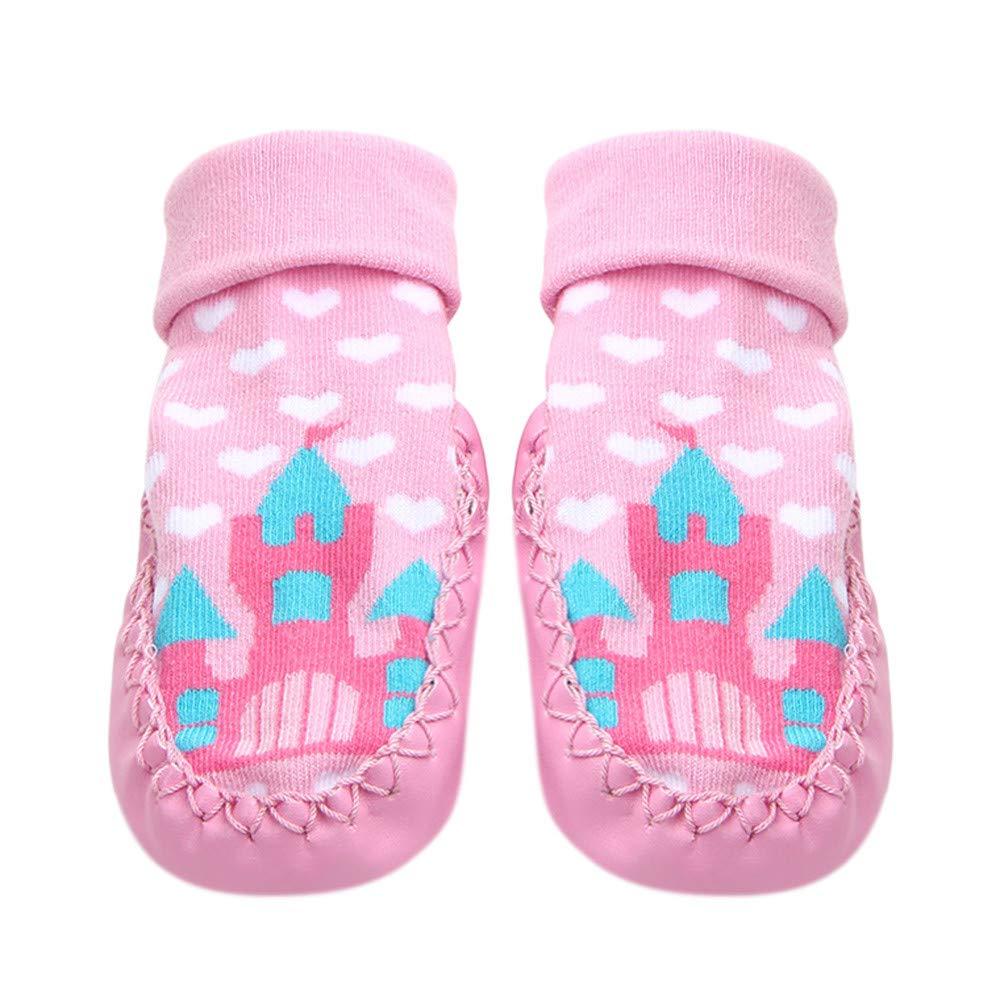 Inkach Clearance Kids Anti-Slip Slipper Floor Socks Baby Non-Slip Socks Soft Bottom Booties Shoes (1-12 Month/One Size, Pink)