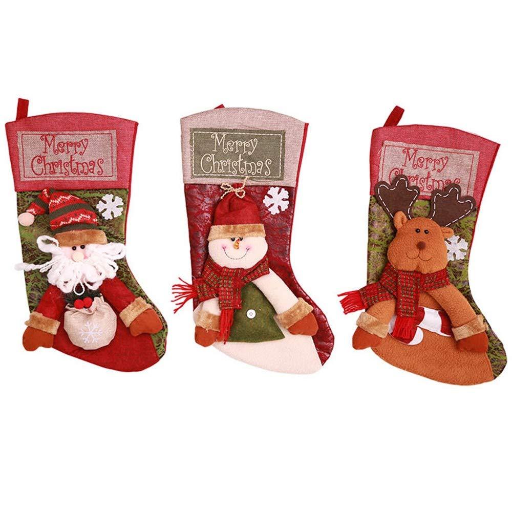 ZXMSDWZ 3 Pcs/Set Christmas Stockings Gifts Socks Xmas Gift Bag For Children Christmas Tree Decoration,As Show