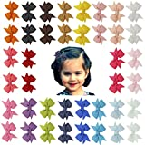 Angla 40PCS Pigtail Bow Hair Clips Fully Lined Grosgrain Ribbon for Baby Girl Toddler Kids (40PCS S1)