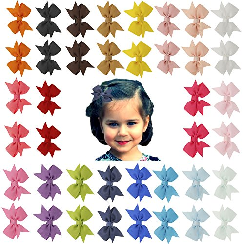 Angla 40PCS Pigtail Bow Hair Clips Fully Lined Grosgrain Ribbon for Baby Girl Toddler Kids (40PCS S1) -