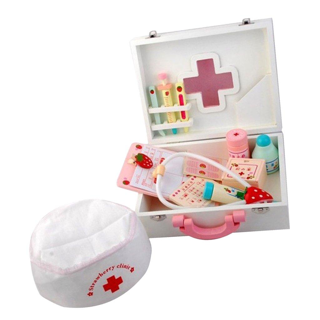 Sharplace Kinder Holz Doktorkoffer Rollenspielzueg Kit für Kinder Arzt Rollenspiele Spielzeug