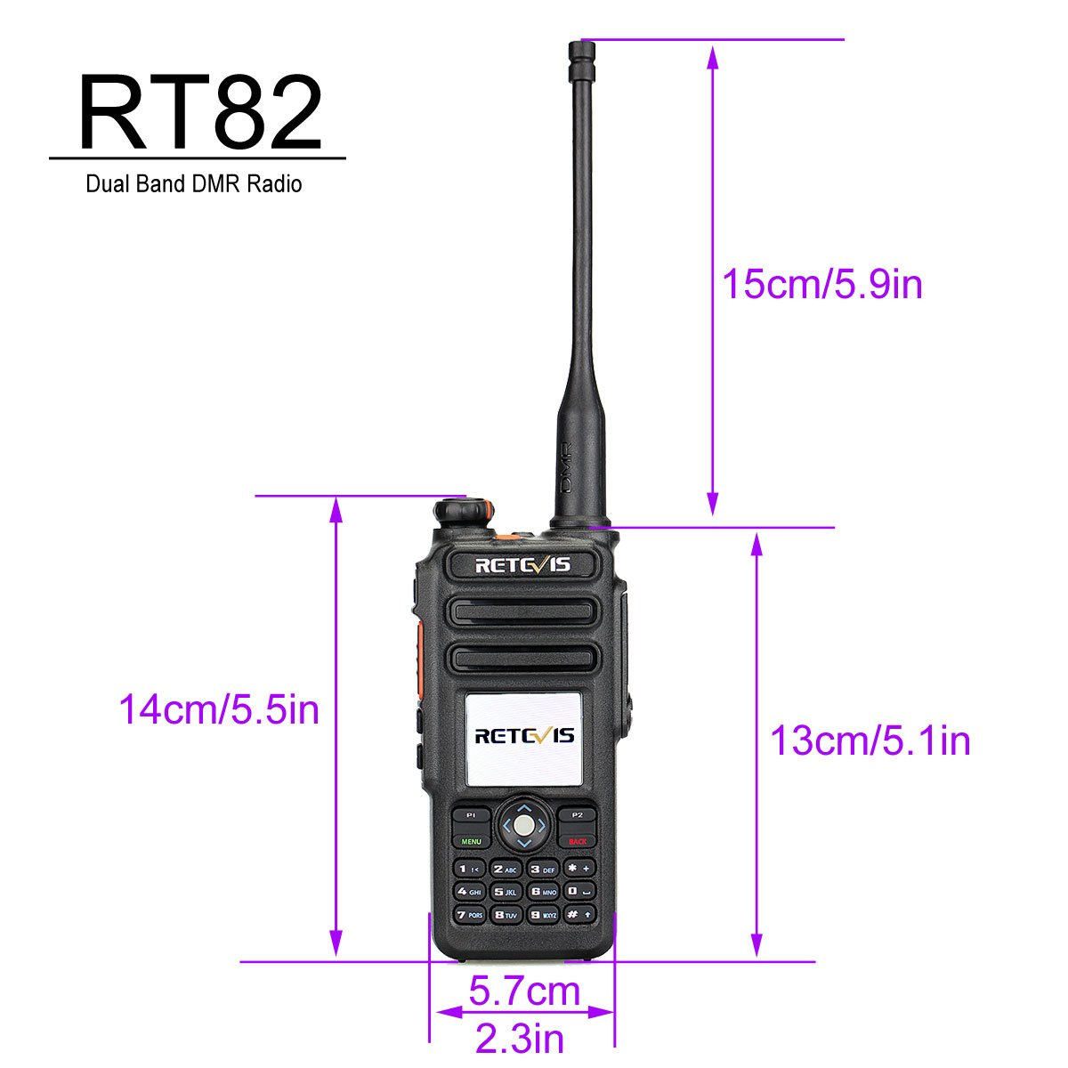 Retevis RT82 IP67 Waterproof Dual Band DMR Digital/Analog Two Way Radio 5W 136-174MHZ/400-480MHZ 3000 Channels 10000 Contacts Ham Amateur Radio with Record Function and Programming Cable by Retevis (Image #3)