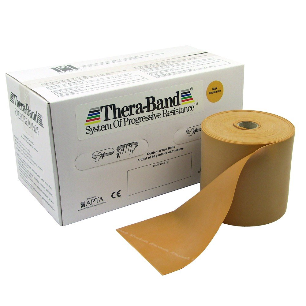 Hygienic/Theraband 20180 Professional Resistance Band, Gold, Max, 50 yd. Length (Pack of 2)
