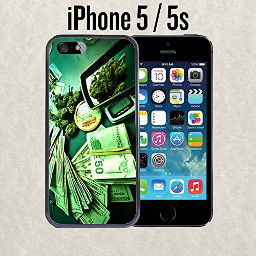 iPhone Case Money and Weed for iPhone 5 / 5s Rubber Black (Ships from CA)