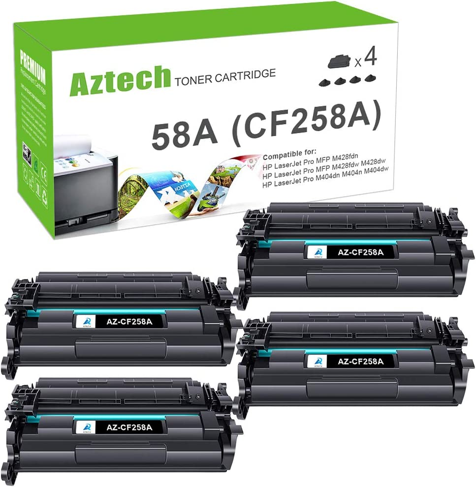 Aztech Compatible Toner Cartridge Replacement for HP 58A CF258A 58X CF258X Laserjet Pro M404n M404dn MFP M428fdw M428dw M428fdn (Black 4-Pack)