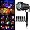 Halloween Christmas Outdoor/Indoor Night Projector Lights Decorations/10 Pattern LED Moving Laser Landscape Spotlights/Lamp for Party Holiday Festival Home Decor Lighting/Garden Yard Wall Tree Light