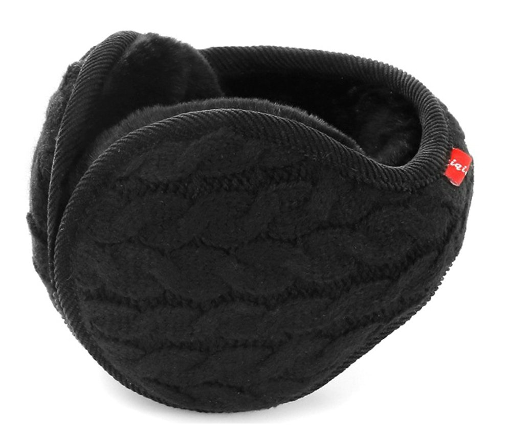 Ilishop Unisex Woolen Yarn Wrap around Earmuffs Black Free