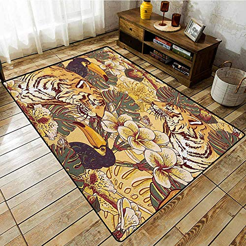 Large Area Rug,Tiger,Tropical Animals Symbol of Bengal and Toucan in Lively Colors Harmonious Nature Print,Super Absorbs Mud,4'11