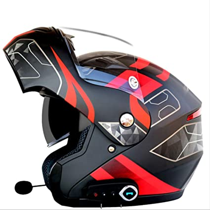 YSHMoto Motocicleta Bluetooth Cascos Modulares Flip Up Bluetooth Touring Cascos Lente Doble, Matteblackflower-XL