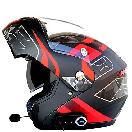 YSHMoto Motocicleta Bluetooth Cascos Modulares Flip Up Bluetooth Touring Cascos Lente Doble, Matteblackflower-L