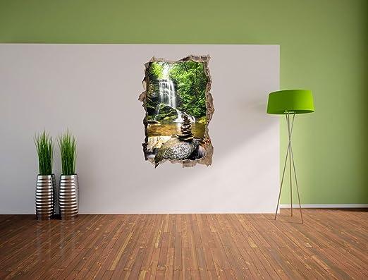 mur ou format vignette de la porte: 62x42cm sticker mural stickers muraux pierres zen devant cascade perc/ée de mur en 3D look d/écoration murale