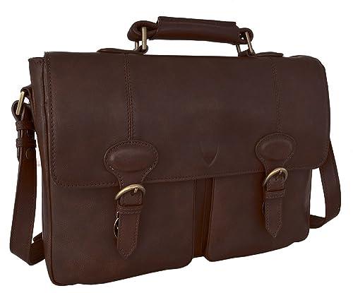 587a7b125c8 Hidesign Parker 02 Briefcase Bag - Laptop Bag - Messenger Bag - For Men -  Casual Travel - Travel Bag - With Fixed   Adjustable Leather Shoulder Strap  ...