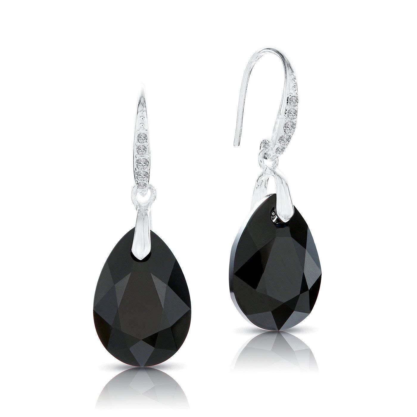 LA SENJA Pendientes de lágrima de cristal negro hechos a mano, pendientes de plata de ley 925