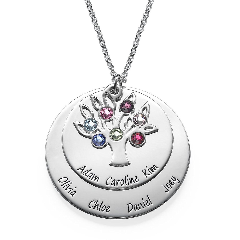 Personalized family tree jewellery mothers birthstone necklace in personalized family tree jewellery mothers birthstone necklace in sterling silver and swarovski gems amazon jewellery aloadofball Gallery