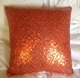 ShinyBeauty Sofa Pillow Covers,Orange Sequin Pillow Cover,Sequin Lumbar Pillow,Sequin Pillow Case-20x20-Inch