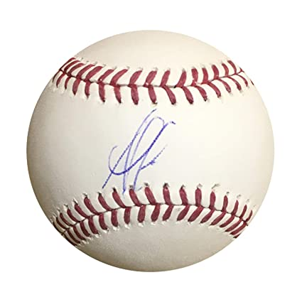 d131fa673a7 Image Unavailable. Image not available for. Color  Ozzie Albies Atlanta  Braves Autographed MLB Signed Baseball JSA COA 2 With UV Display Case