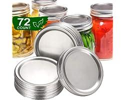72 Pcs Regular Mouth Canning Lids of Ball, 70mm Mason Jar Canning Lids Reusable Split-Type Lids Leak Proof Storage