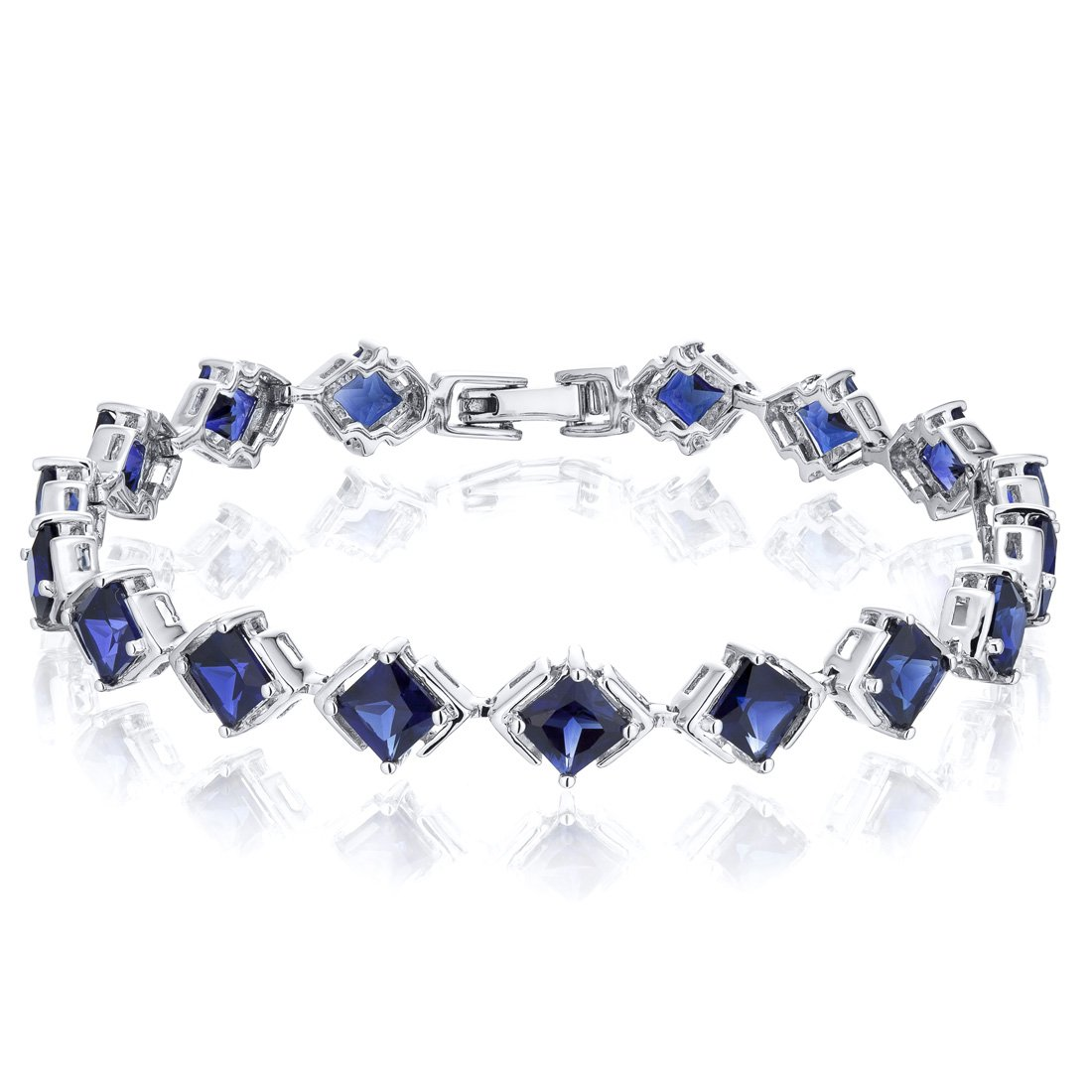 Princess Cut Created Sapphire Bracelet in Sterling Silver Rhodium Nickel Finish 12 Carats Total Weight by Peora